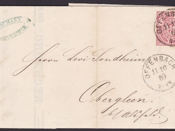 NDP cover franked 3 KREUZEUR with single Nr.21 to Obergleen (Ober-Gleen) near Kirtorf dated 11.10.1869.
