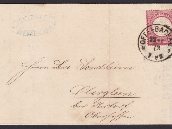 DR Cover franked 3 KREUZEUR with single Nr.25 to Obergleen (Ober-Gleen) near Kirtorf dated 22.11-1873